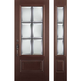 Albright Prehung Door Dark Walnut Sidelite Right