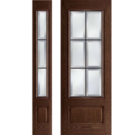 Albright 8-0 Prehung DarkWalnut Door Collection 1 Sidelite Left